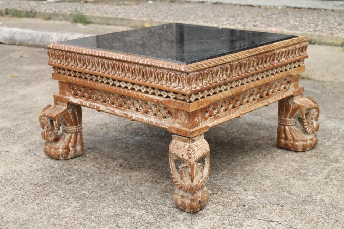 Marble Topped Carved Wood Coffee Table