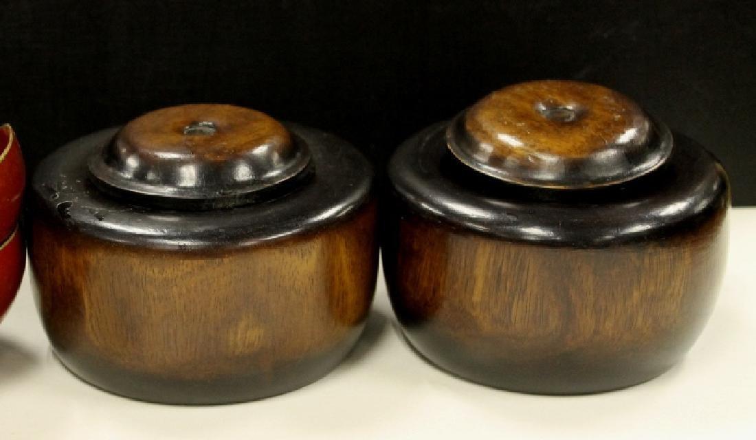 Lot of 2 Carved Wooden Jars