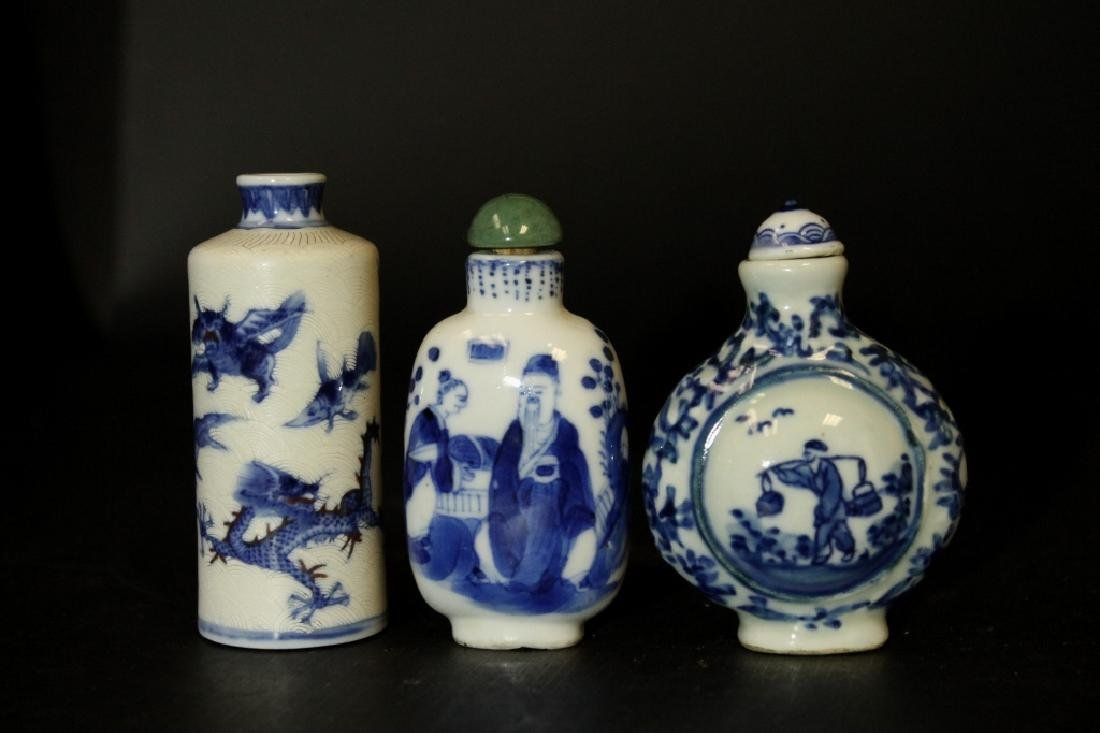 Lot of 3 Antique Chinese Snuff Bottle