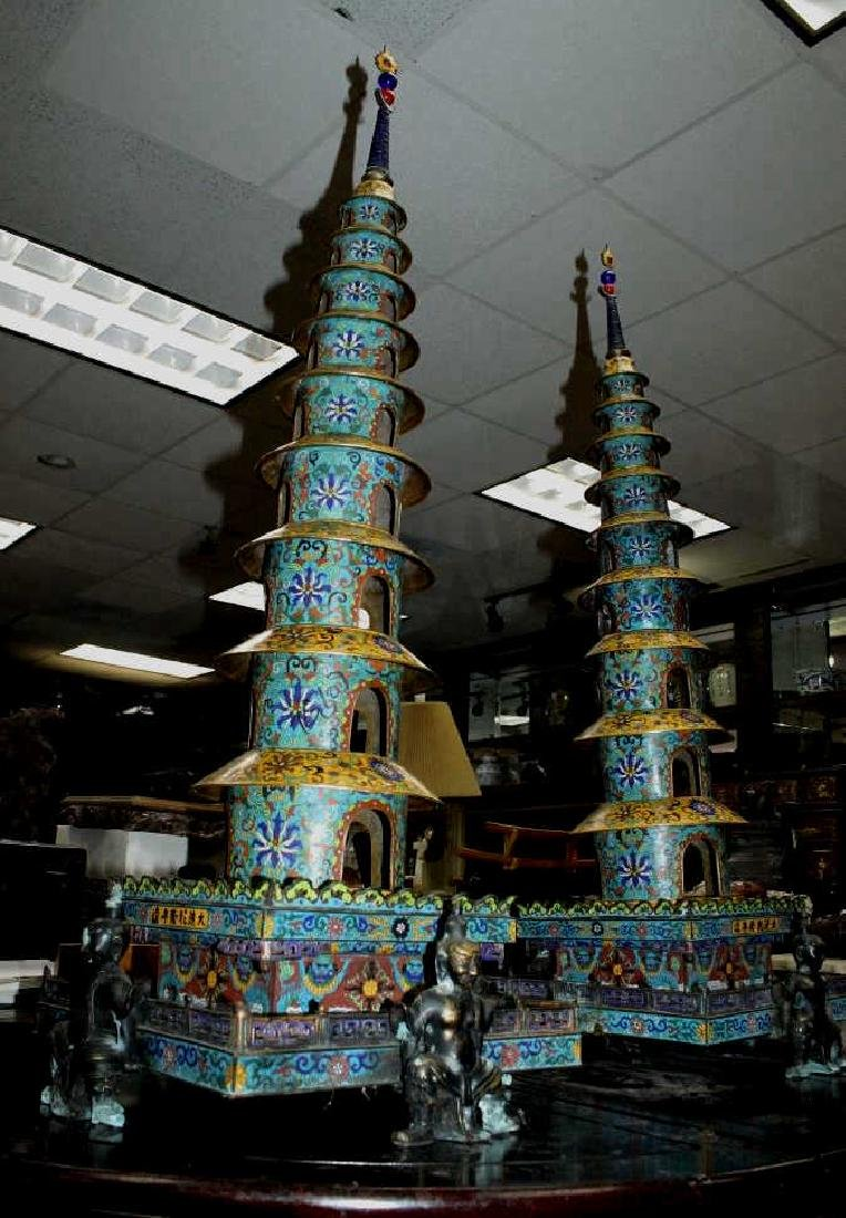 Pair of Large Chinese Cloisonne Stupas