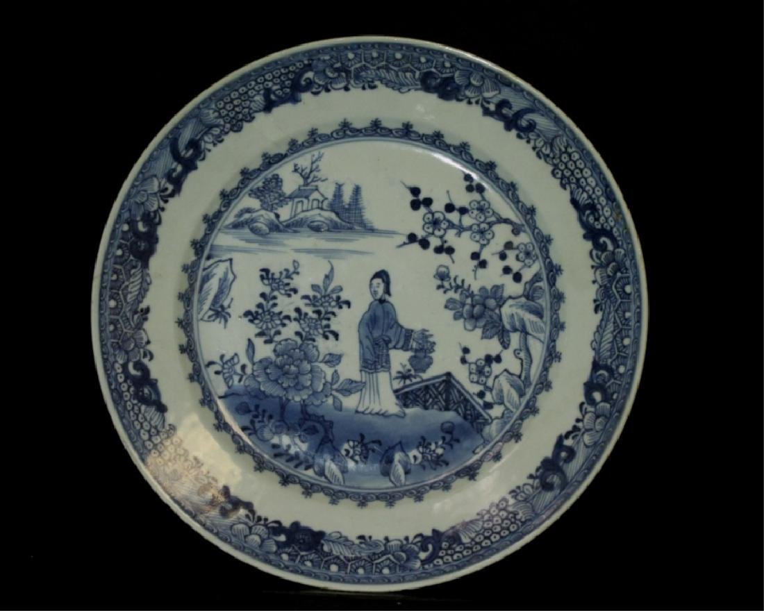 Antique Chinese B&W Plate