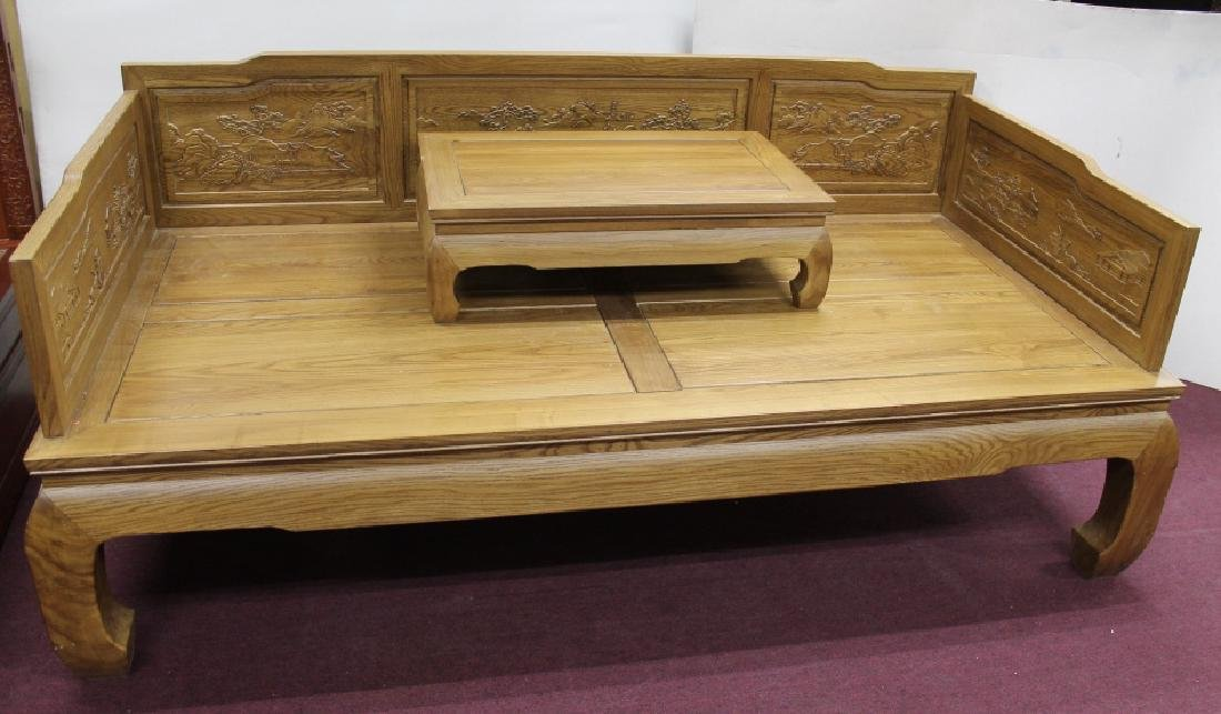 Carved Chinese Opium Bed w/ Low Table