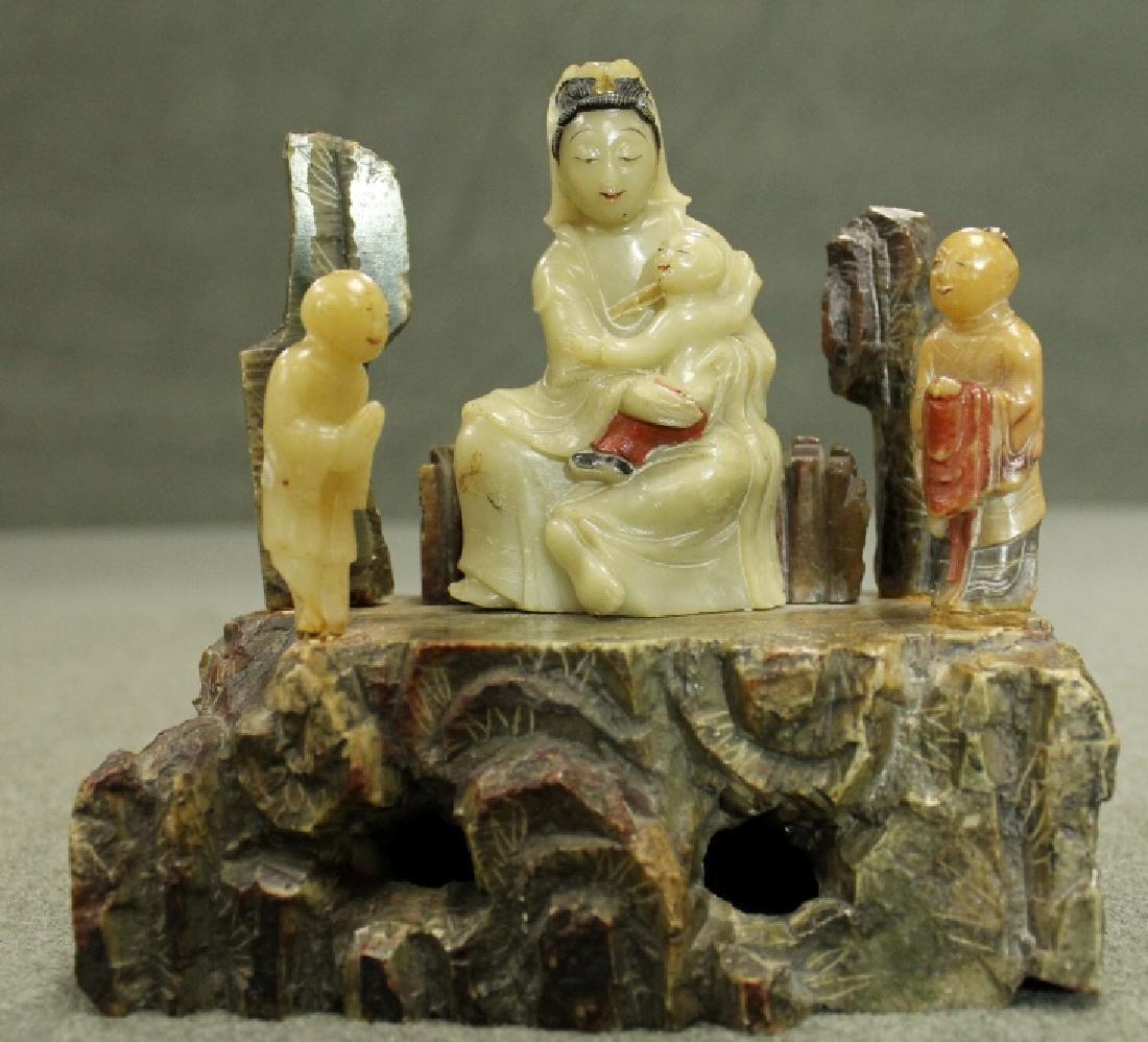 Qing Dynasty Shoushan Stone Guanyin W/ Kids
