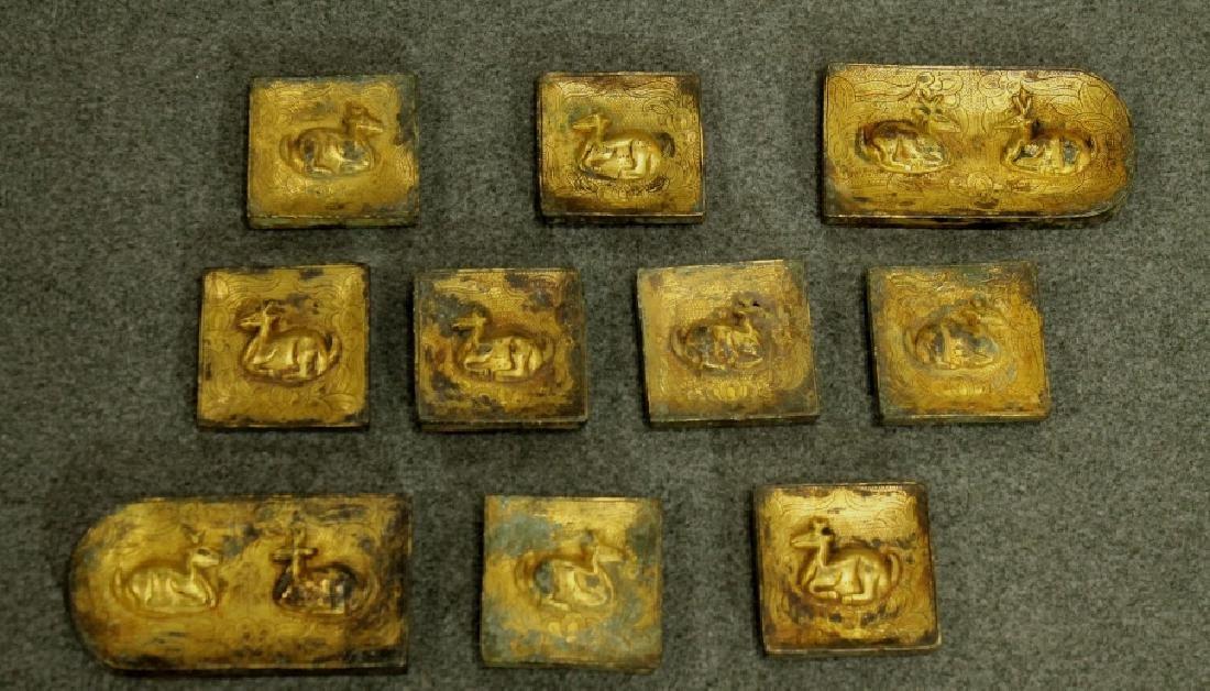 Han Dynasty Group of 10 Gilded Bronze Belt Hook