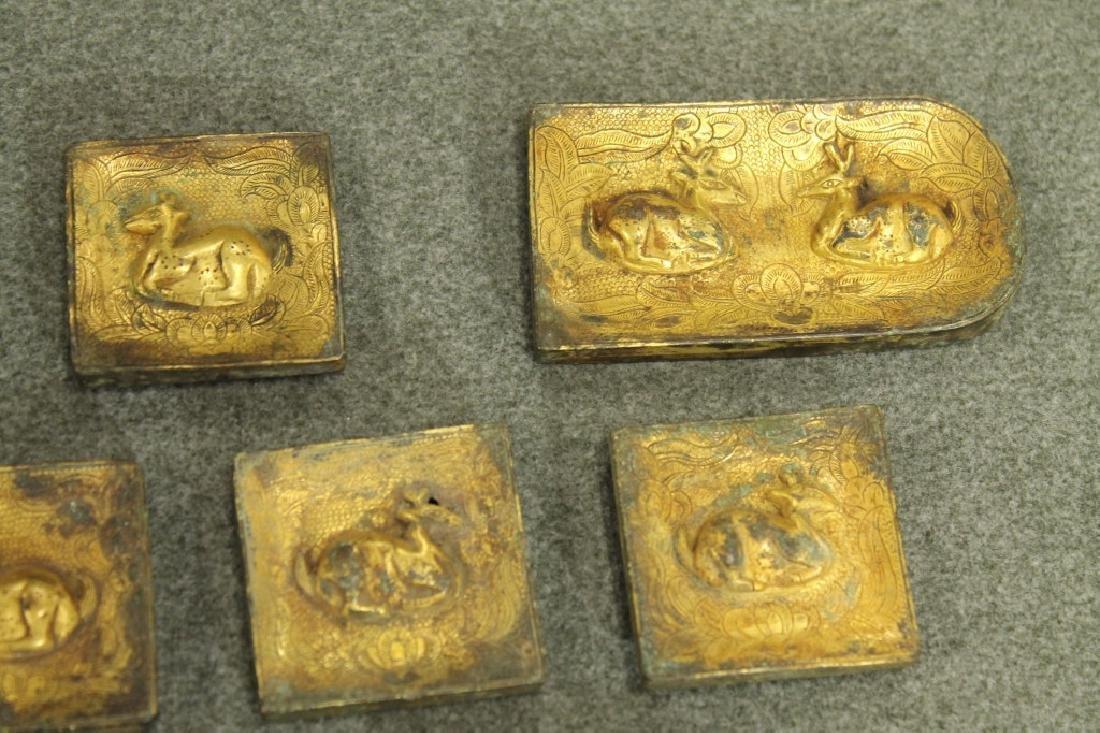 Han Dynasty Group of 10 Gilded Bronze Belt Hook - 2