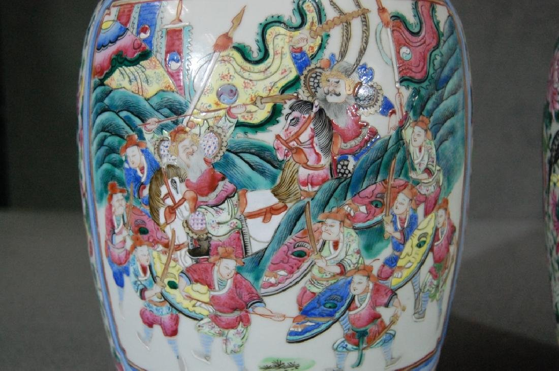 Qing Dynasty Pair of Chinese Fencai Vases - 3
