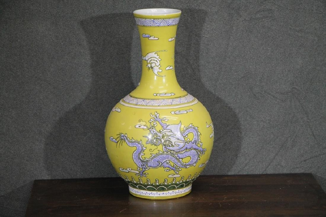 Kangxi Mark Porcelain Yellow Glazed  Dragon Vase
