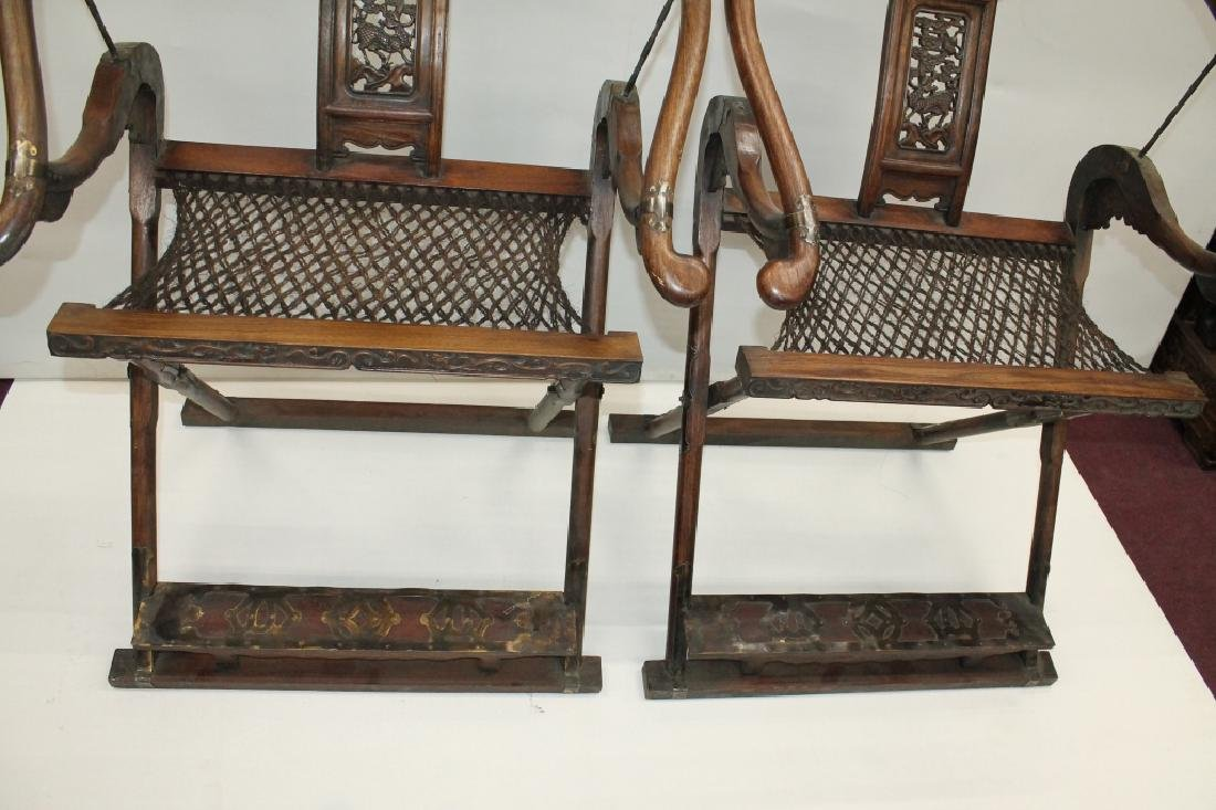 Pair of Chinese Folding Hunter's Chairs - 4