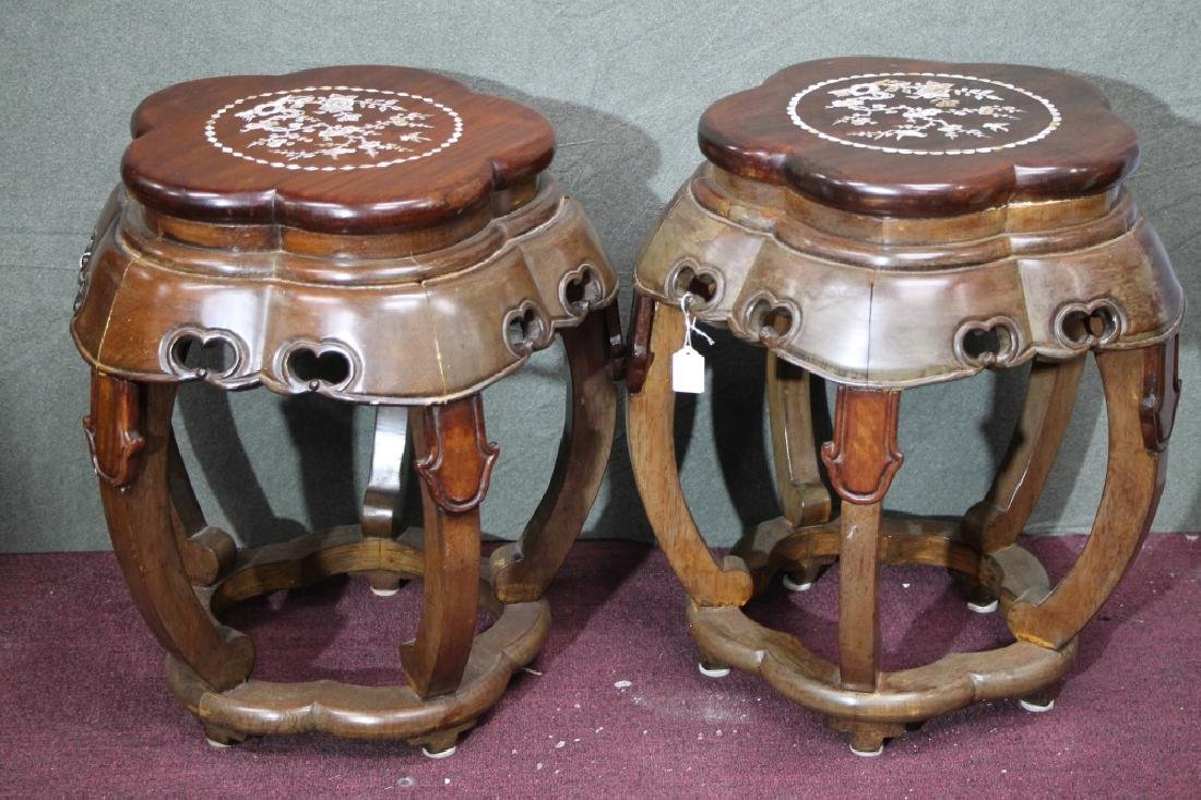 Pair of Rosewood Stools w/ Mother-of-Pearl Inlays