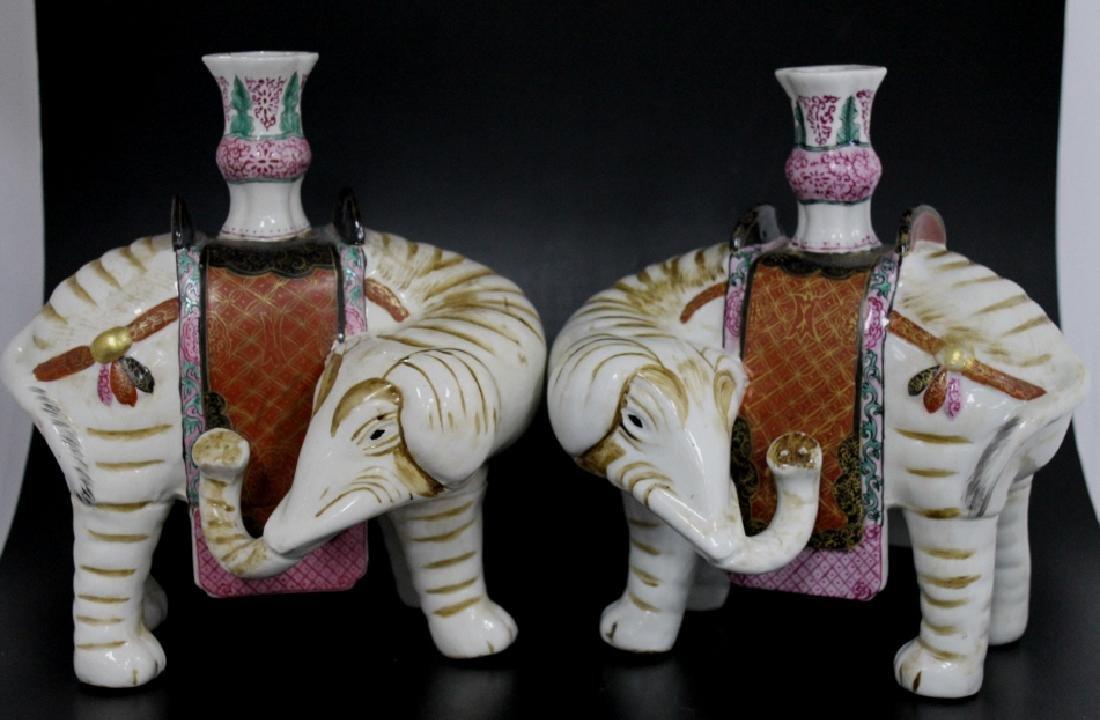QingPair of Chinese Porcelain Elephant Candlestick