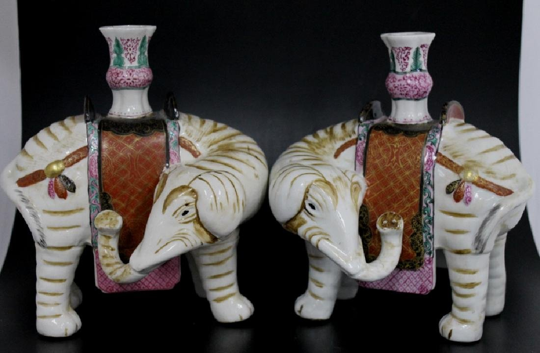 QingPair of Chinese Porcelain Elephant Candlestick