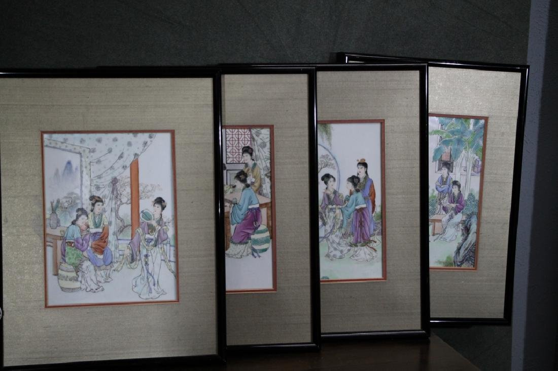 Group of 4 Framed 1960s Chinese Porcelain Painting