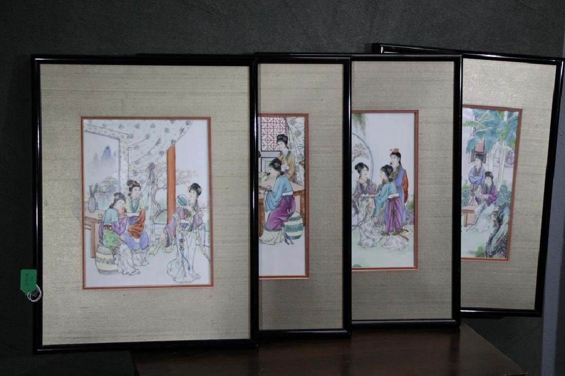 Group of 4 Framed 1960s Chinese Porcelain Painting - 2
