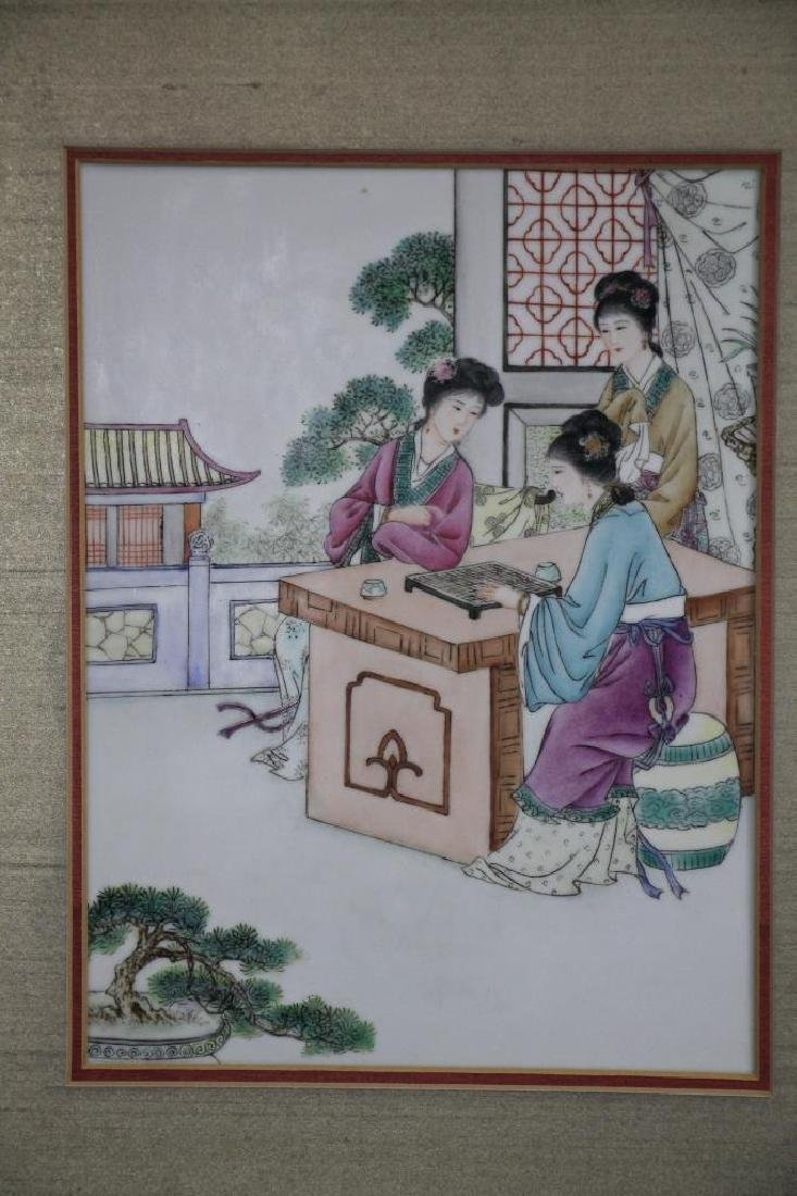 Group of 4 Framed 1960s Chinese Porcelain Painting - 4