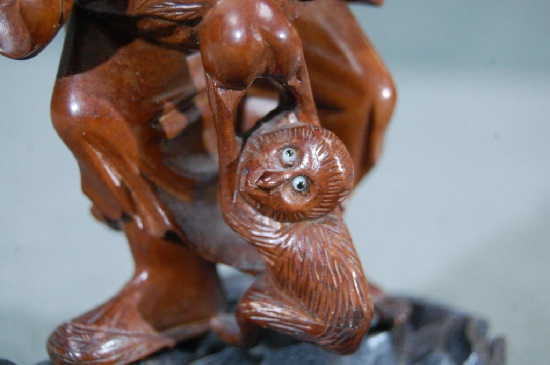 Carved Rosewood Statue- Old Man W/ Monkey - 3