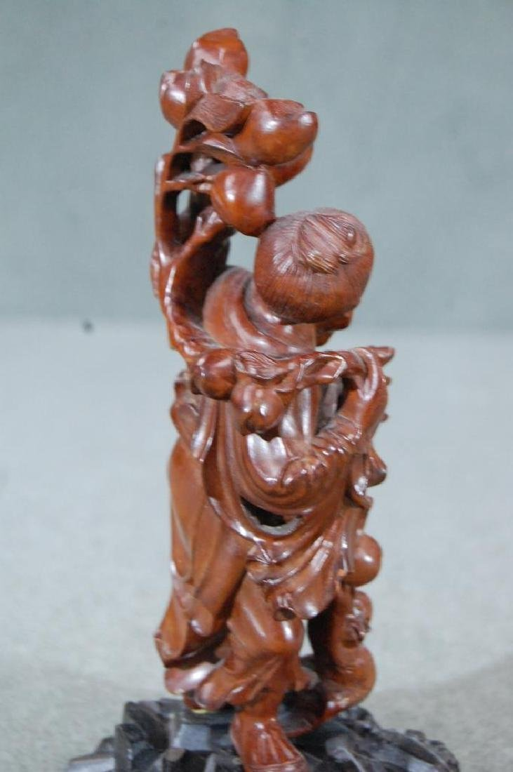 Carved Rosewood Statue- Old Man W/ Monkey - 4