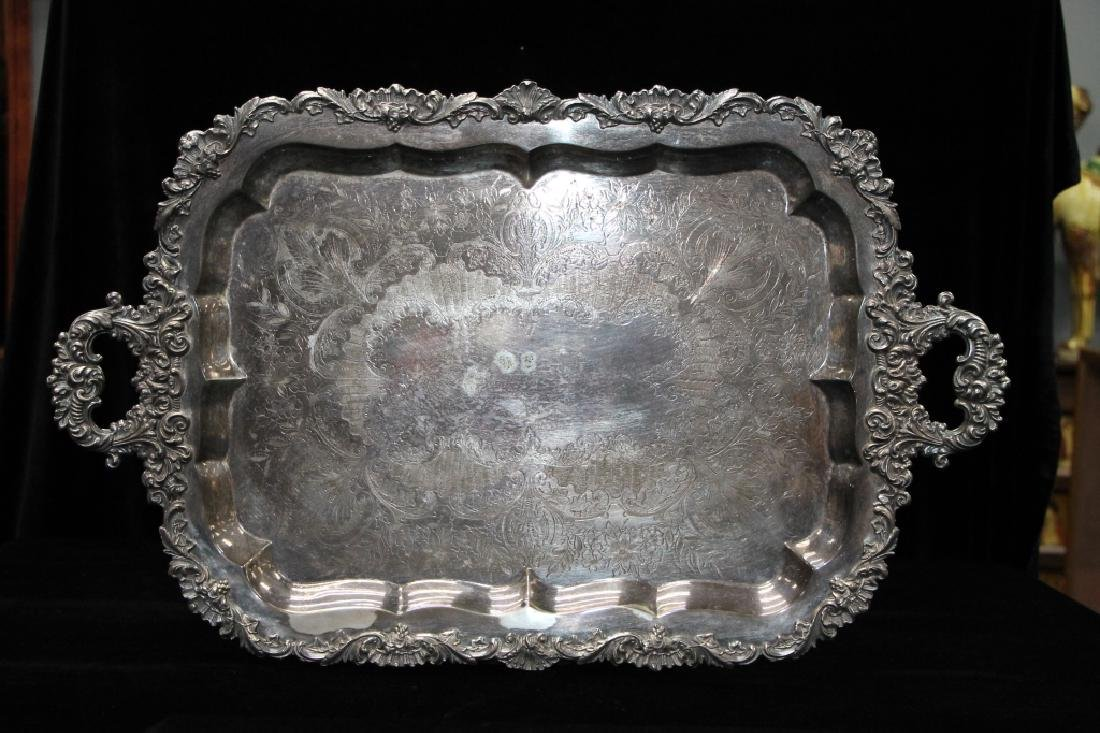 Large Silverplated Serving Tray - 2