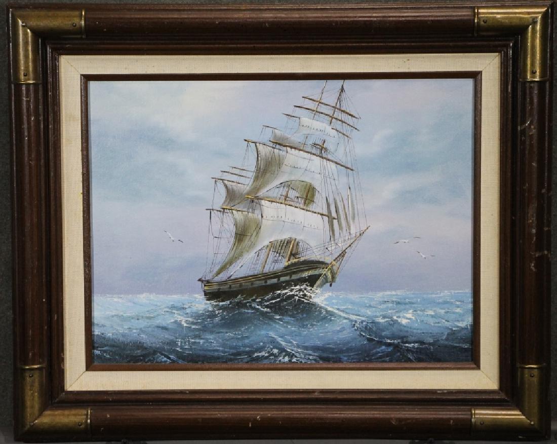Framed Oil Painting - Ship