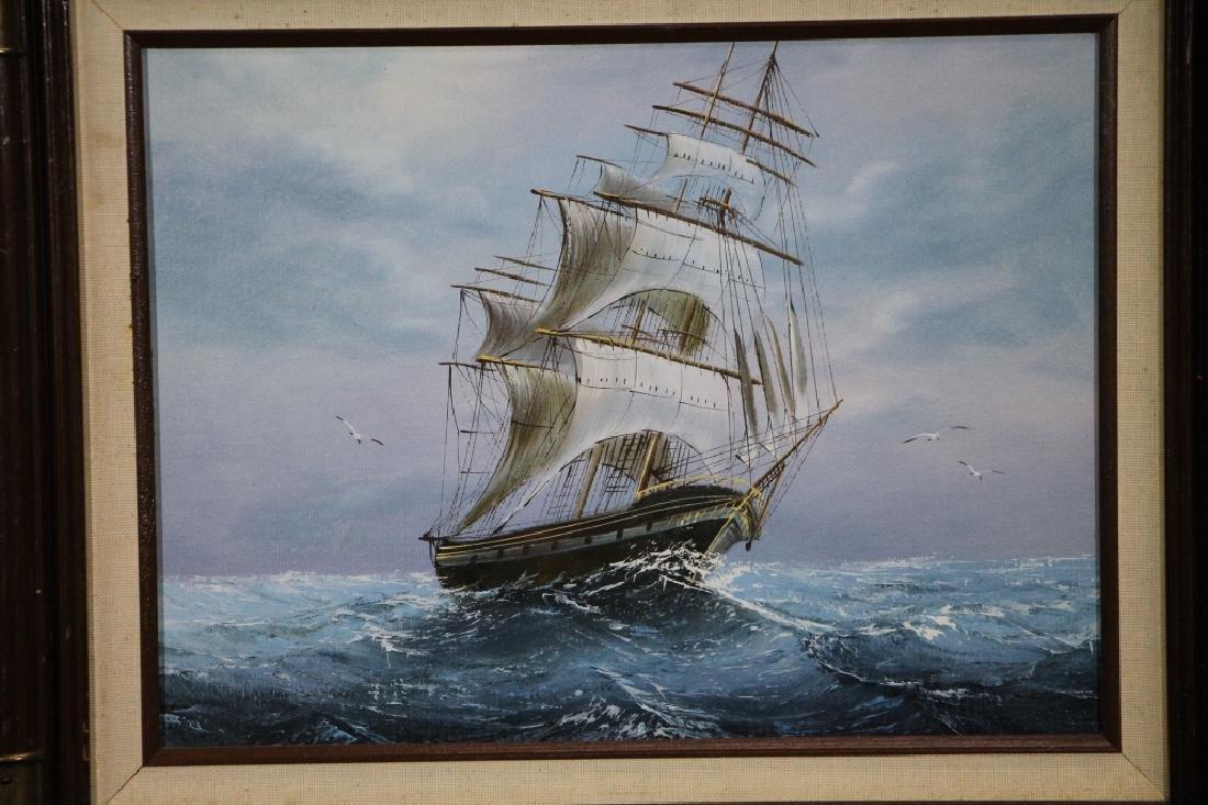 Framed Oil Painting - Ship - 2