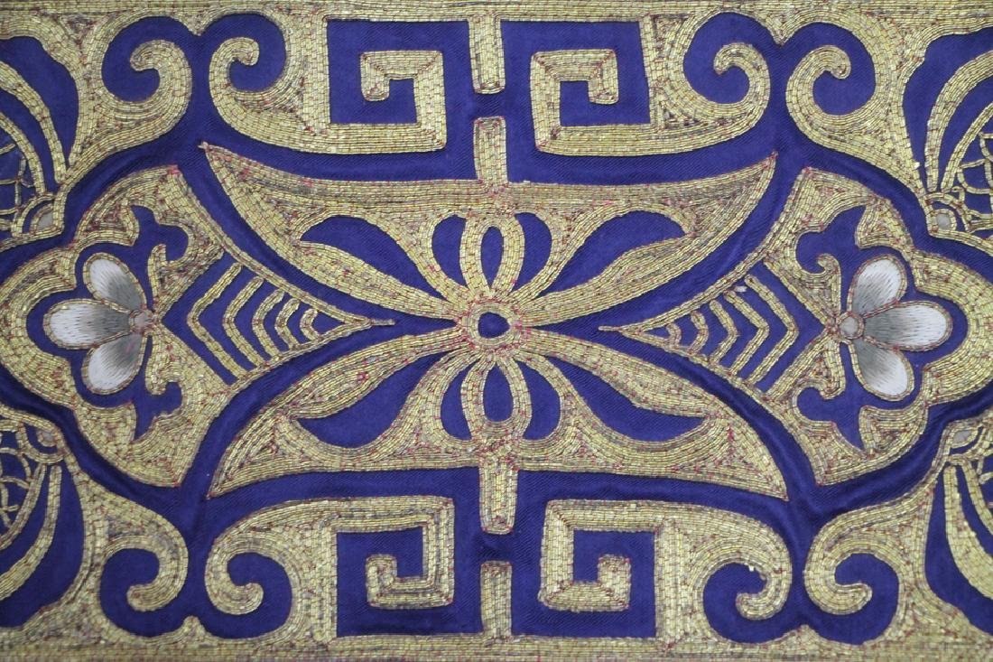 Two Pieces Blue and Gold Textiles - 2