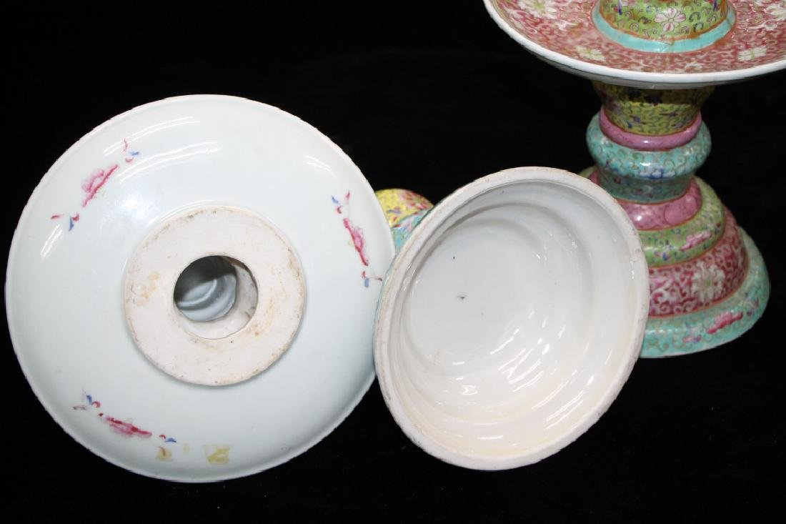 Pair of Chinese Famille Rose Candle Holders - 3