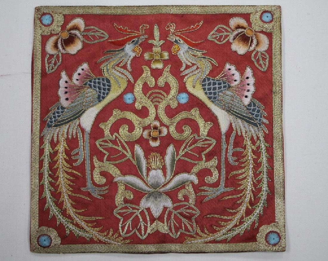 A Piece of Beautiful Red and Gold Textile-Phoenix