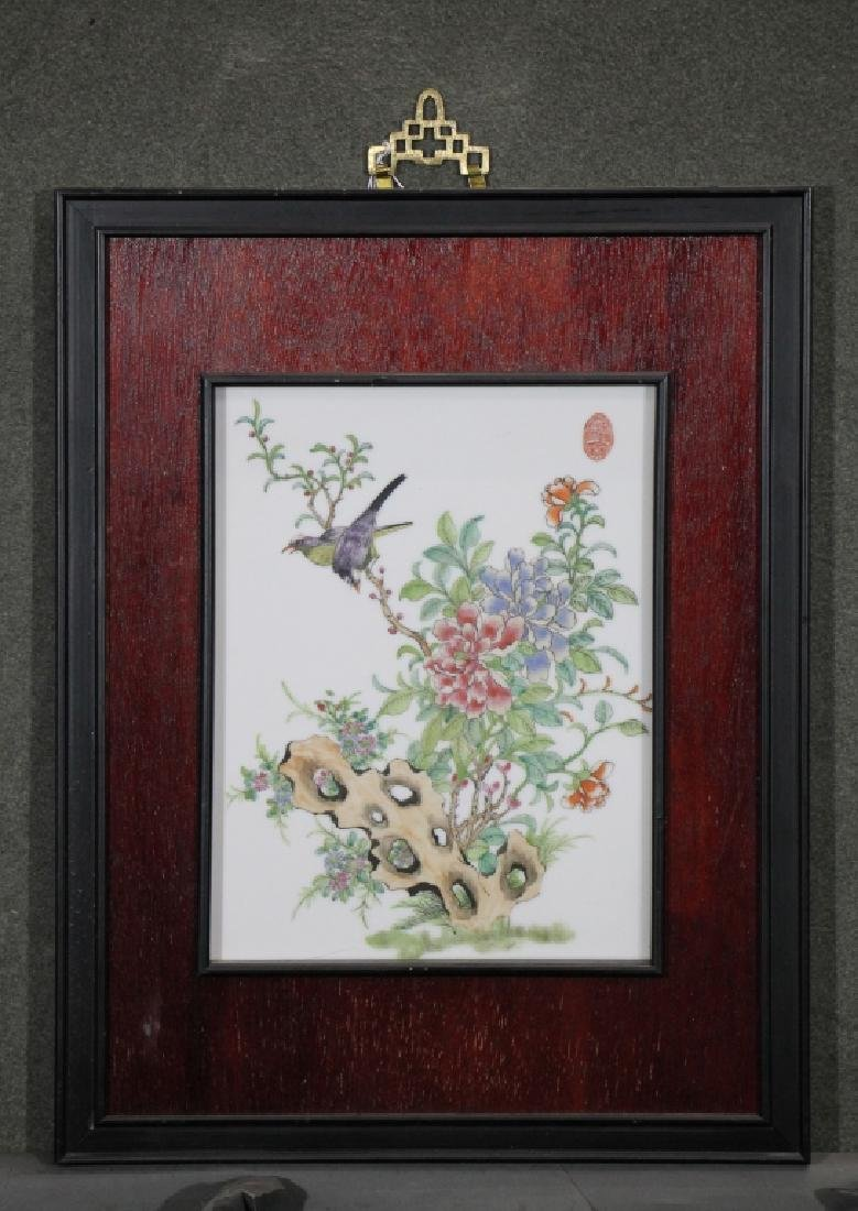 Framed Chinese Painted Porcelain Tile - Flowers