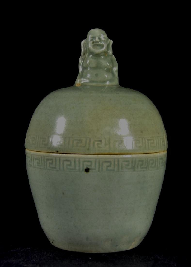 Chinese Celadon Lidded Jar