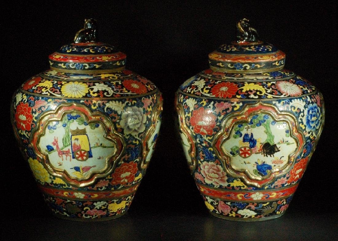 Large Pair Chinese Wucai Porcelain Covered Jars