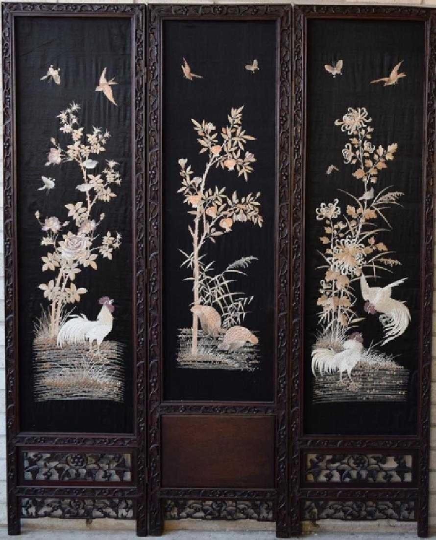 Chinese Qing Embroidery Screens w/ Rose Wood Frame