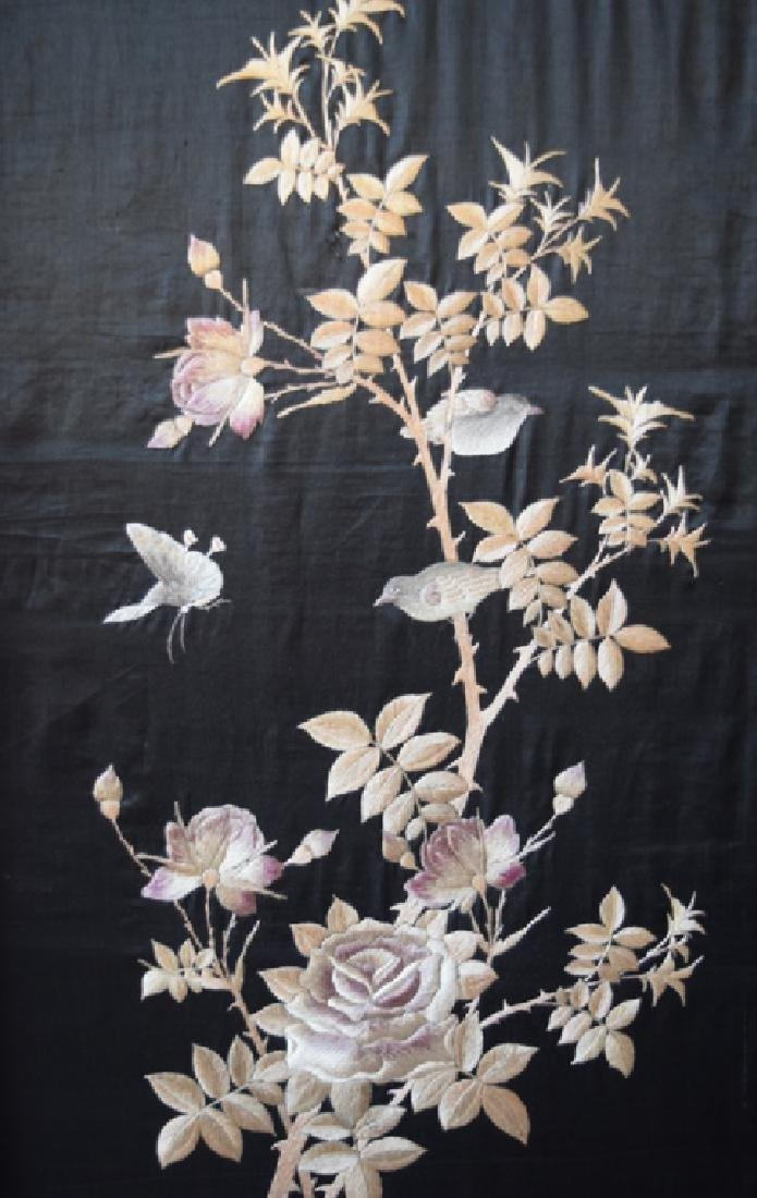 Chinese Qing Embroidery Screens w/ Rose Wood Frame - 2