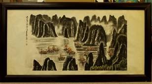 Large Framed Chinese Watercolor Painting -Li KeRan