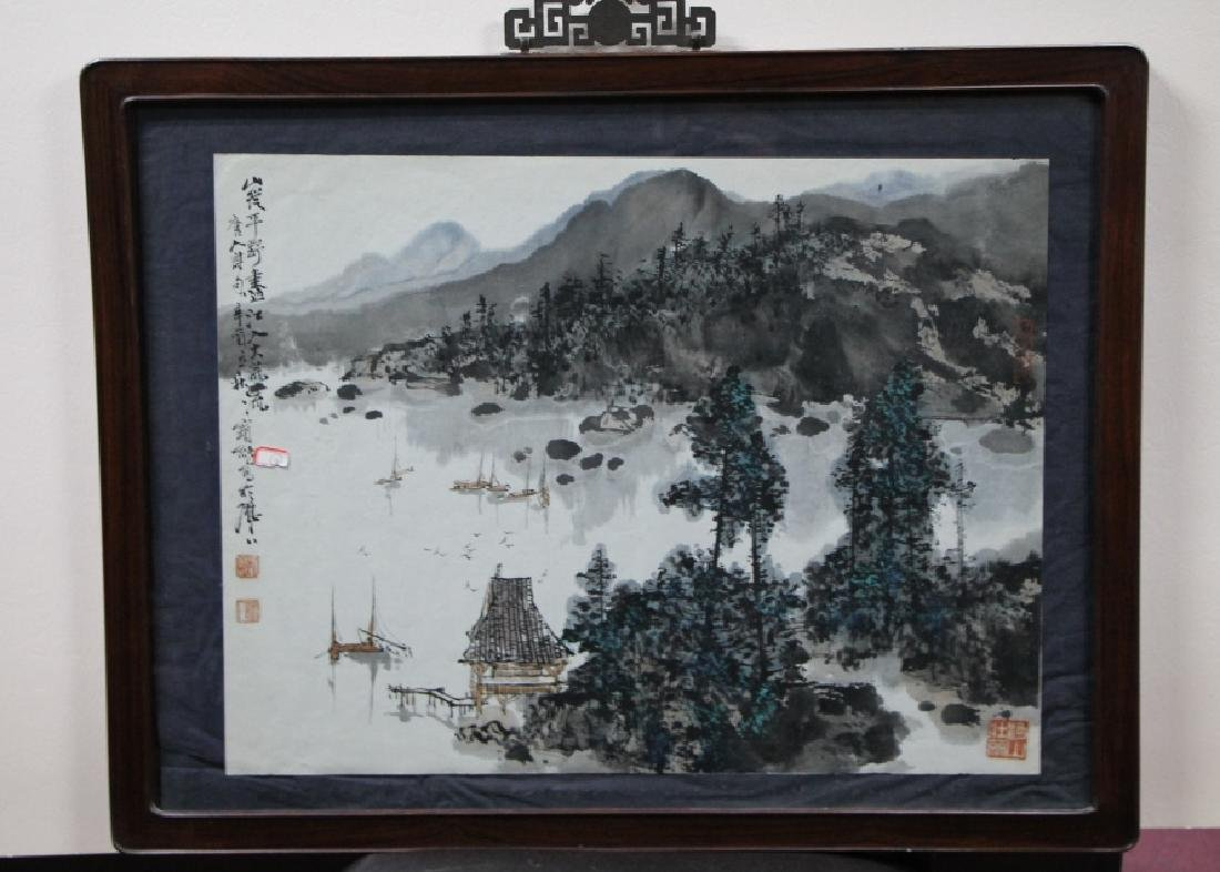 Framed Chinese Watercolor Painting - Liu Baochun