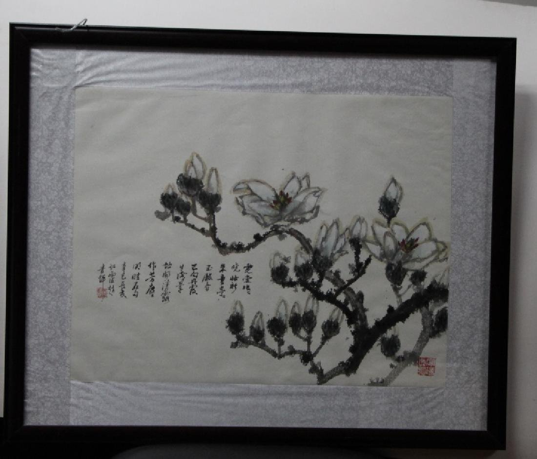 Framed Chinese Watercolor Painting - Flowers