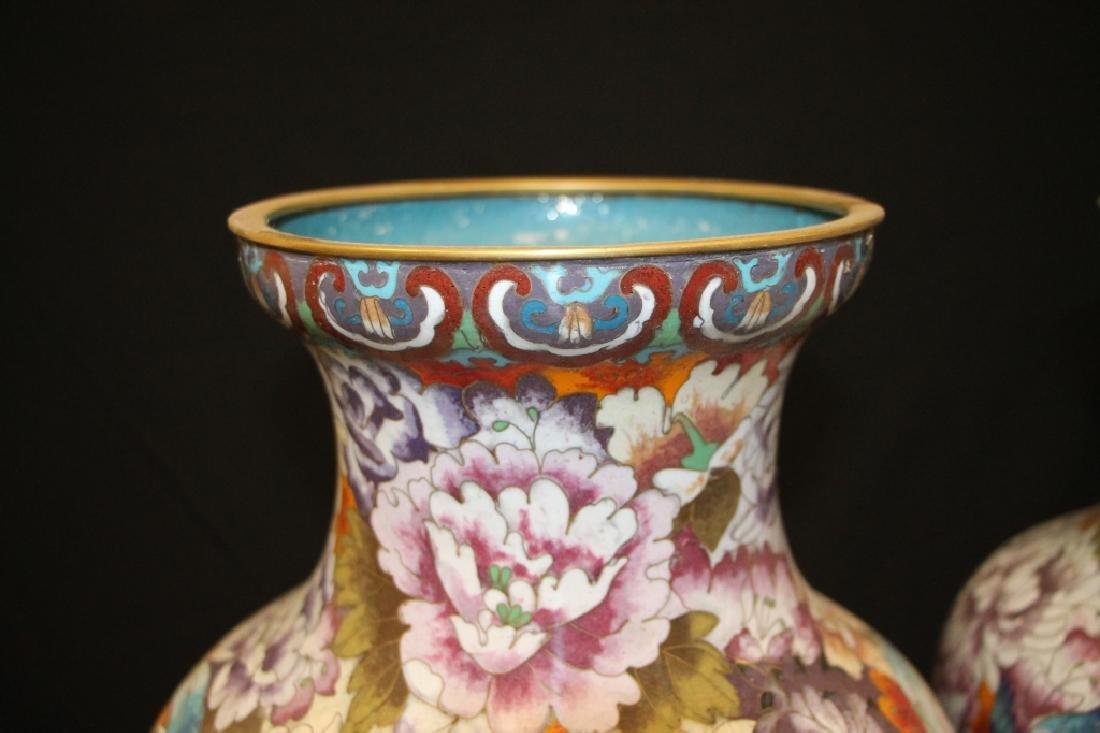 Pair of Cloisonne Vases - 2