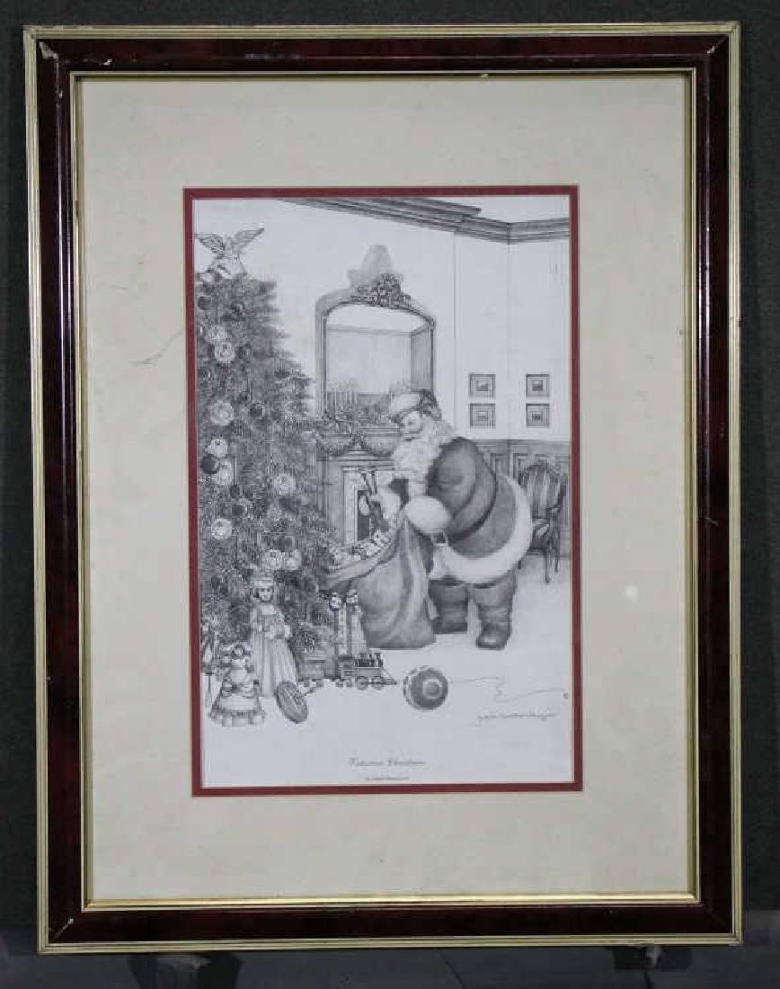 JACKIE NEWCOMER - Signed Print : Santa Claus