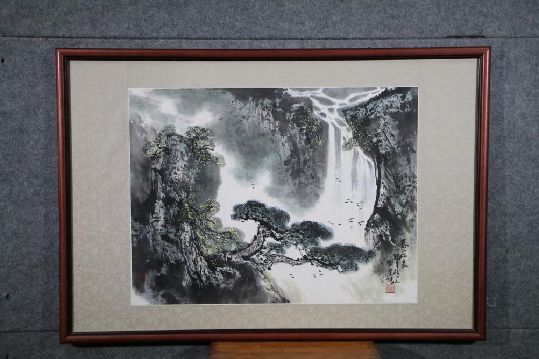 Framed Chinese Waterfall Painting-Liu Bao Chun