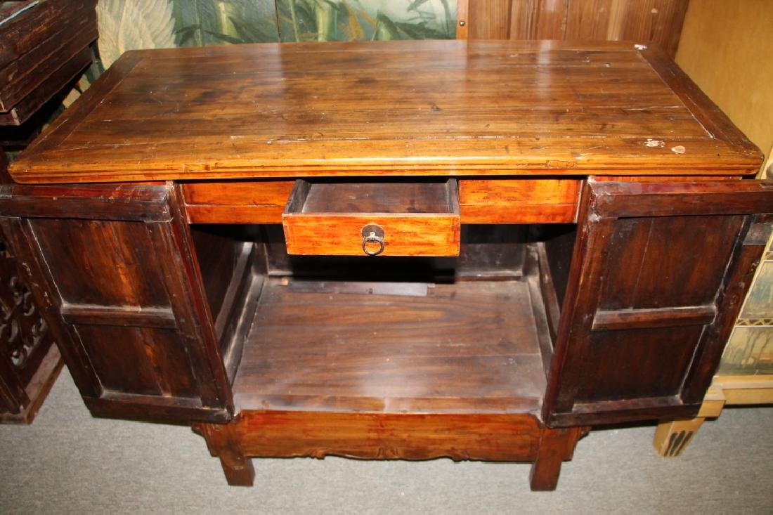 Two Doors Carved Wood Chest - 3