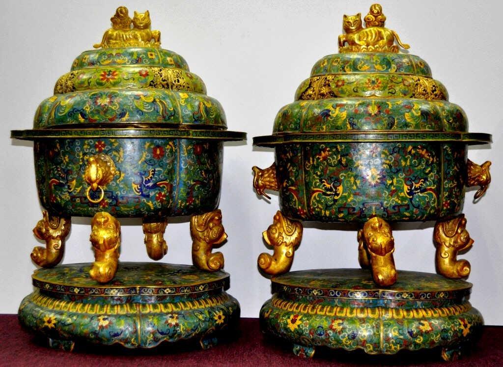 Pair of Monumental Cloisonne Incense Burners