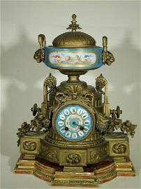 French Porcelain Mounted Gilt-Bronze Mantel Clock