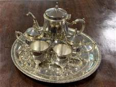 Set of Silver Tea Pot and Cups