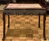 Old Rose Wood Carved Table W Marble Top