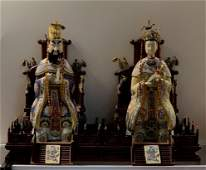 Pair of Cloisonne Emperor and Queen Statue
