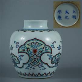 A Doucai Floral Porcelain Jar