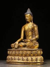 A Gild Bronze Seated Sakyamuni Statue