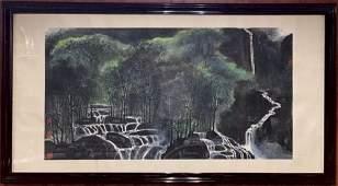 Framed Chinese Scroll Painting-Li Keran