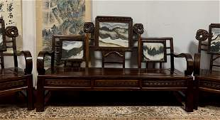 A Set of Rosewood Carved Chairs W/ Marbles