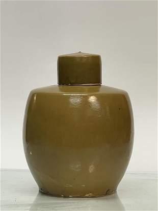 Song Dynasty Brown Glazed Porcelain Jar W/ Lid