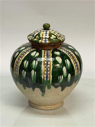 Tang Sancai Glazed Jar W/ Lid