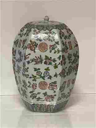 Qing Dynasty Hexagon Fencai Porcelain Jar W/ Lid
